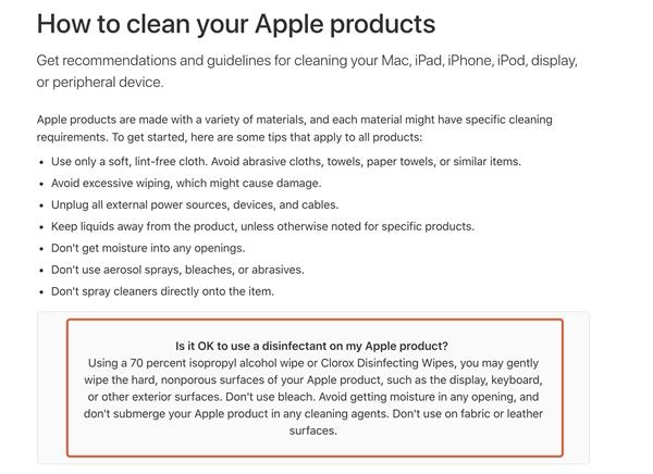 如何为iPhone正确消毒?苹果官网给出建议