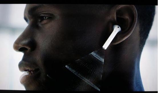 苹果无线耳机戴上图