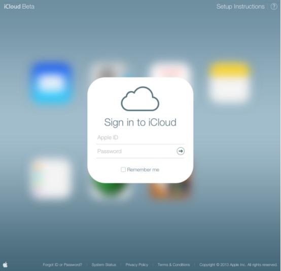 icloud beta登录页面